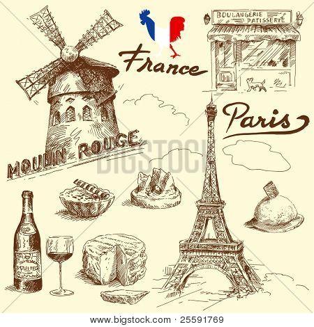 coleção de França-original mão desenhada