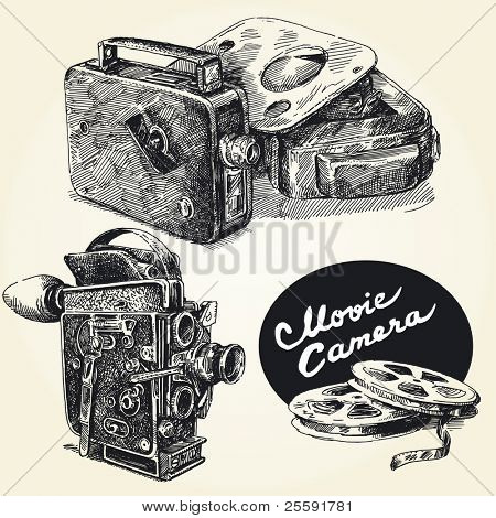 vintage  movie cameras-original hand drawn collection