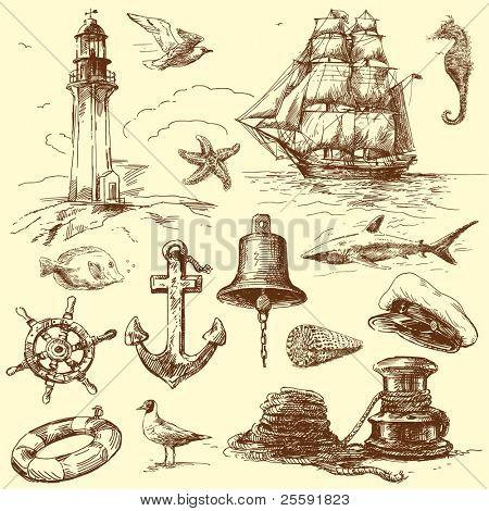 Colección náutica dibujados a mano