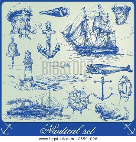 colección de elementos náuticos-dibujados a mano
