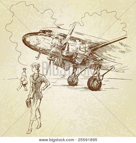 airplane-hand drawn illustration