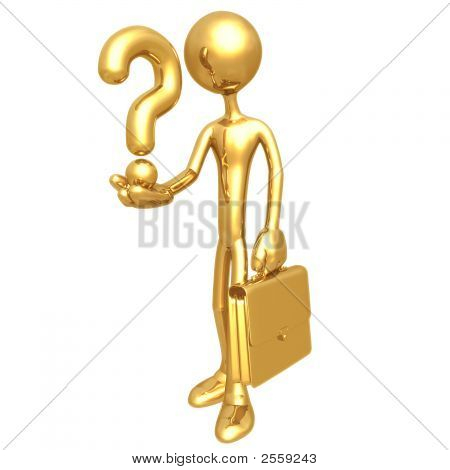 Businessman Holding A Question