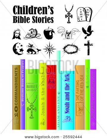 Children's Religious Story Books.Use to advertise a church library corner or to help children understand biblical stories.
