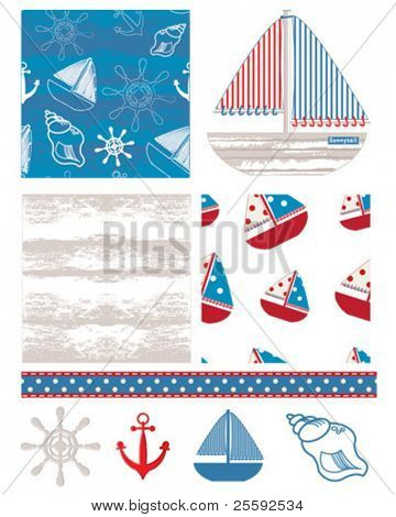 Fun nautical themed backgrounds. Print onto T-shirt transfer sheets for textile elements on bags or table decorations for a summer BBQ.
