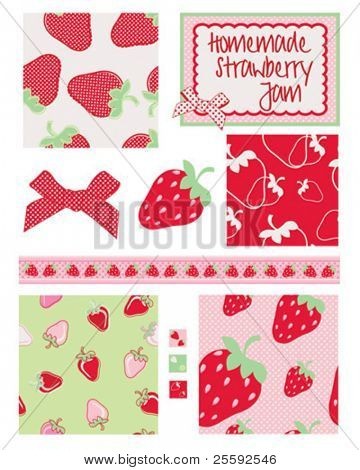 Pretty strawberry patterns. Use to print onto fabric for home baking or as backgrounds or other decor projects.