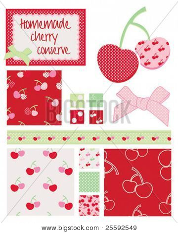 Pretty cherry patterns. Use to print onto fabric for home baking or as backgrounds or other decor projects.