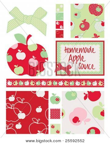 Pretty apple patterns. Use to print onto fabric for home baking or as backgrounds or other decor projects.