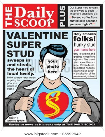 Create your own fun spoof Valentine Super Hero greeting card for the Hunk in your life.