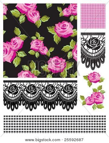 Classic design Elements for scrapbooking, greeting cards, wallpaper, textiles, stencils all patterns are repeat.