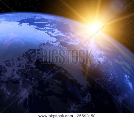 Planeta tierra con salida del sol en el espacio