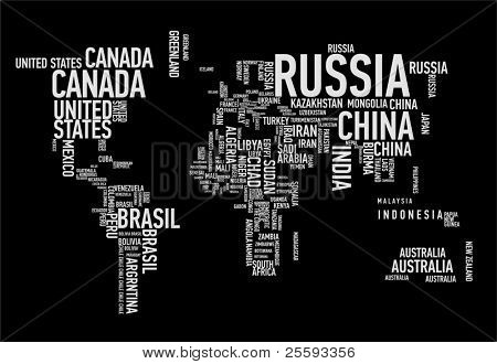 Mapa do mundo: países wordcloud