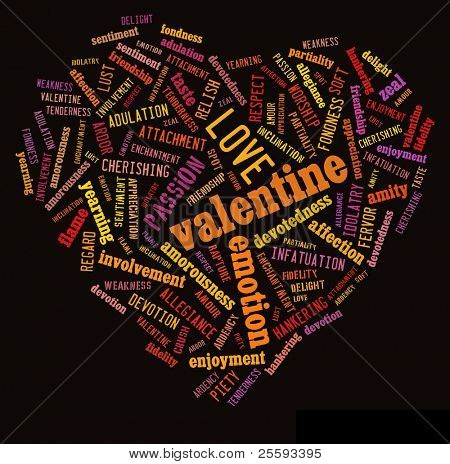 Tagcloud: valentine heart of words of love