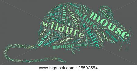 Textcloud: silhouette of rat