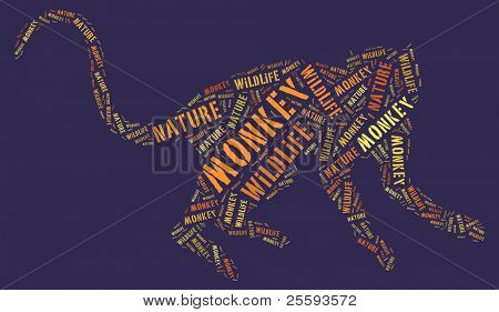 Textcloud: silhouette of monkey