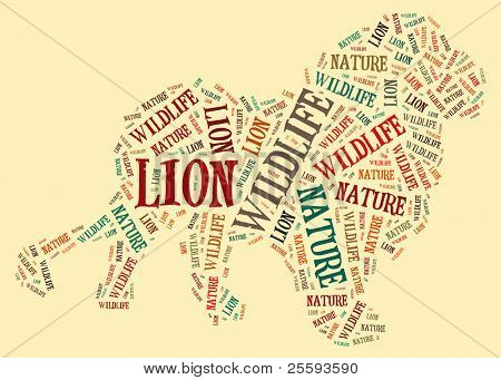 Textcloud: silhouette of lion