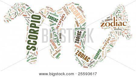 Textcloud: silhouette of scorpio