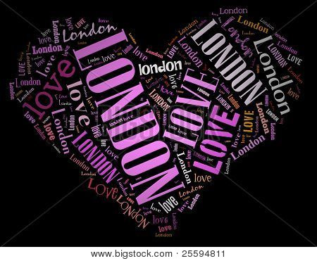 Wordcloud: love heart of city London