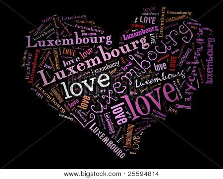 Wordcloud: love heart of city Luxembourg