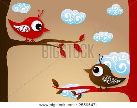 Ilustración de aves