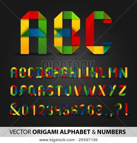 Alfabeto de cinta colorida con números