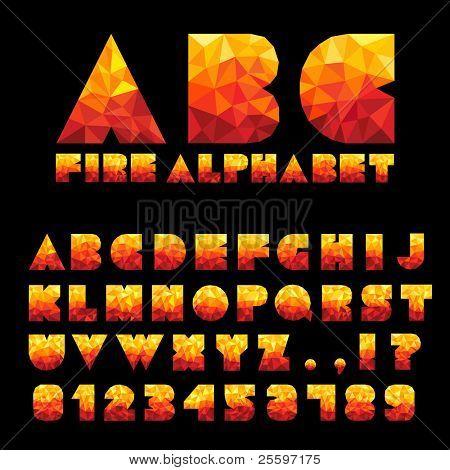 Feuer Alphabet mit Zahlen