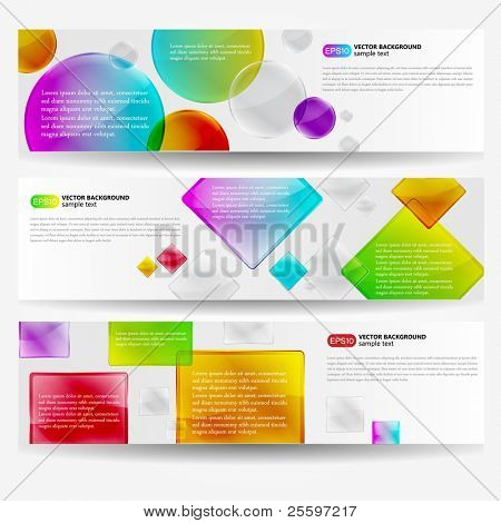 Colorful Shiny Banner Set