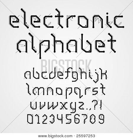 Elektronische Alphabet mit Zahlen
