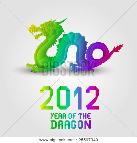 2012 Colorful Origami Dragon