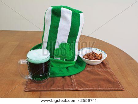 Saint Patricks Day Hat Glass And Pretzils