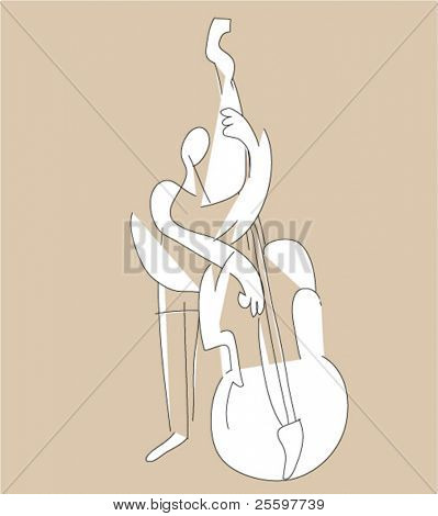 cubistic contrabass musician