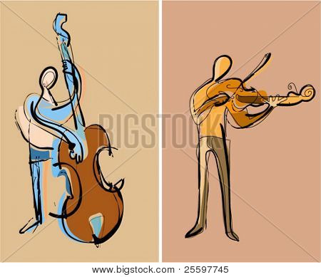 two musicians playing contrabass and violin