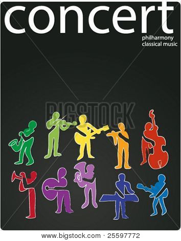 musician colorful silhouettes