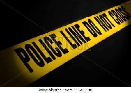Police Line Tape On Black