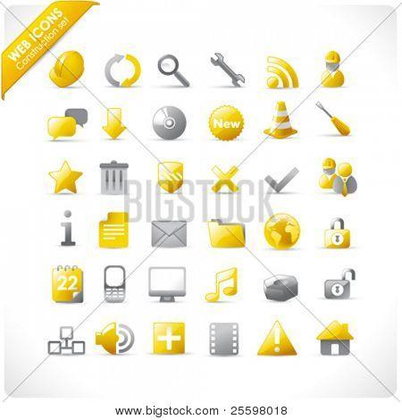 nuevo conjunto de 36 iconos web brillante amarillo y gris (véase también otras cosas de la web en mi cartera)