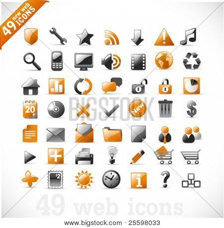 neue Reihe von 49 glossy Web Icons und Design-Elemente in Orange und grau