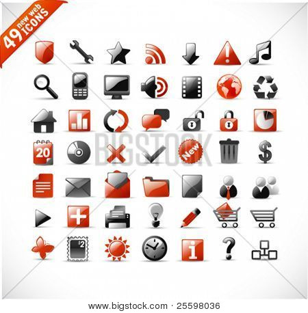 new set of 49 glossy web icons and design elements in red and gray
