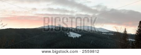 Winter Daybreak Mountain Landscape