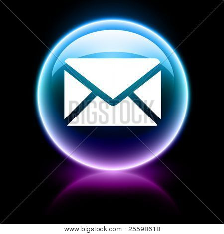 neon glossy web icon - email