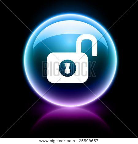 neon glossy web icon - unlock