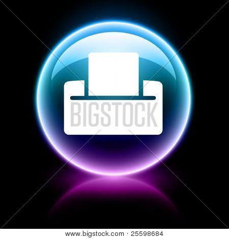 neon glossy web icons - print
