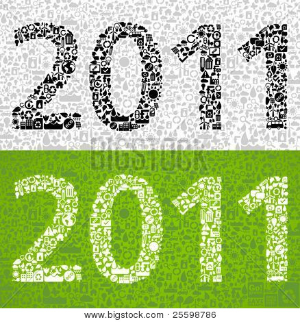 2011 made from little ecology symbols - sustainable development concept