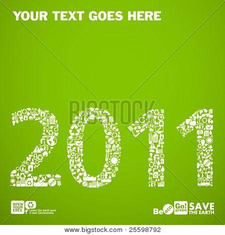 2011 feito de pequenos símbolos de ecologia - conceito de desenvolvimento sustentável