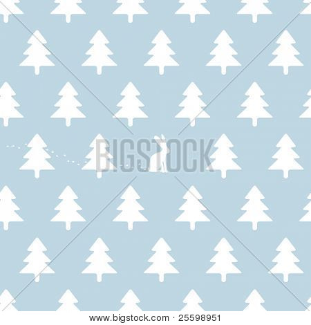 soft seamless winter background with rabbit