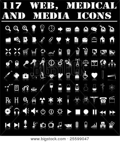 Web, medical and media icons