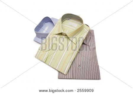 Three Striped Shirts Isolated On The White