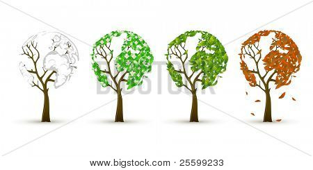 Set of 4 trees in 4 seasons