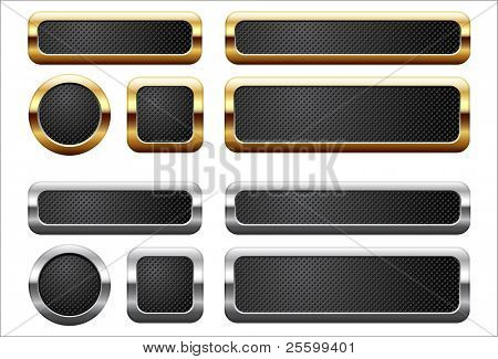 Metallic and golden buttons