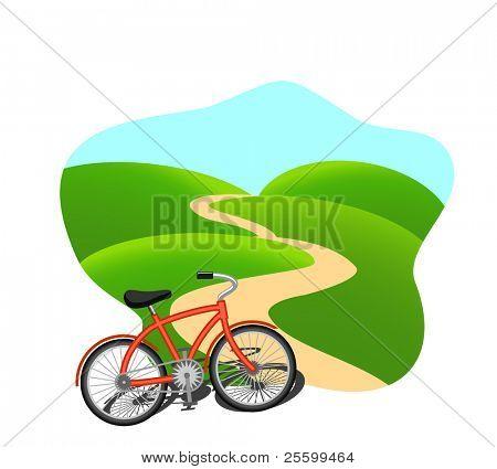 Fahrrad auf einer Landstraße