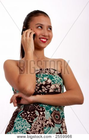 Charming Girl In The Phone
