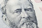 Close Up View Portrait Of Ulysses S. Grant On The One Fifty Dollar Bill. Background Of The Money. 50 poster
